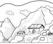 Coloring pages Mountain landscape to be completed