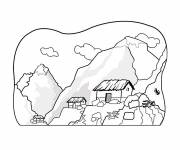 Free coloring and drawings Mountain landscape to cut out Coloring page