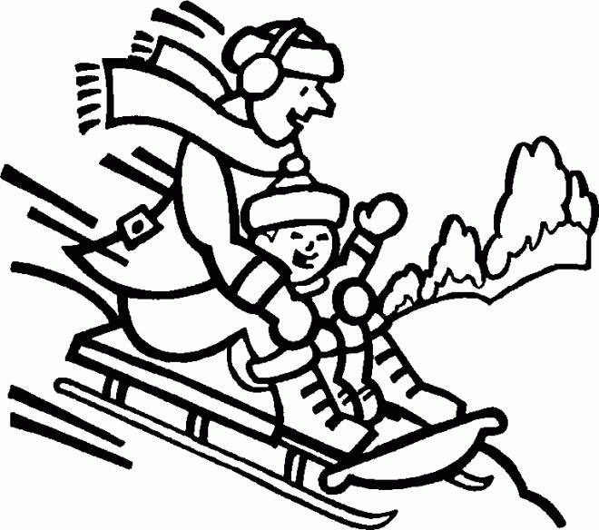 Free coloring and drawings Mountain Ski on Sledge Coloring page