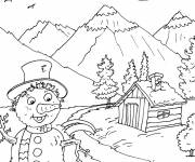 Free coloring and drawings Mountain spring Coloring page