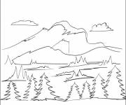Coloring pages Mountain trees