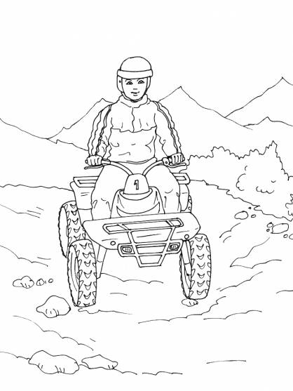 Free coloring and drawings Quad in the Mountain Coloring page