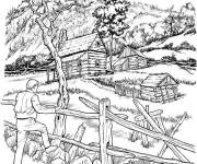 Coloring pages Realistic mountain landscape