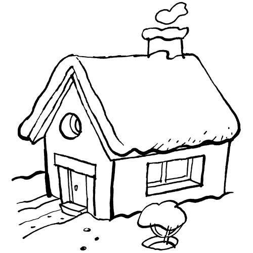 Free coloring and drawings Rural House Landscape Coloring page