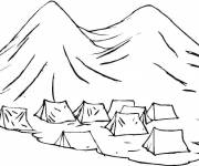 Coloring pages Tents in the Mountain