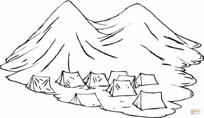 Free coloring and drawings Tents in the Mountain Coloring page