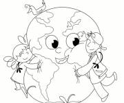 Coloring pages Earth and little children