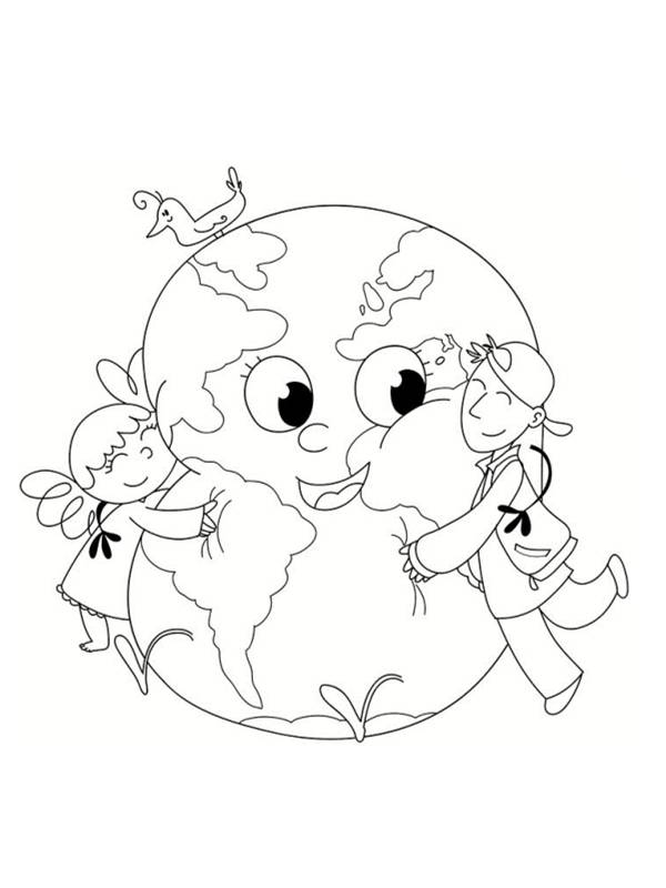 Free coloring and drawings Earth and little children Coloring page