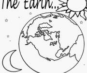 Coloring pages Earth, Sun and Moon