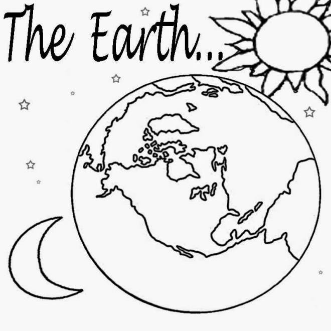 Free coloring and drawings Earth, Sun and Moon Coloring page