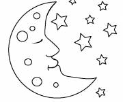Free coloring and drawings Moon in the sky Coloring page