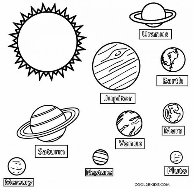 Free coloring and drawings Named planets Coloring page