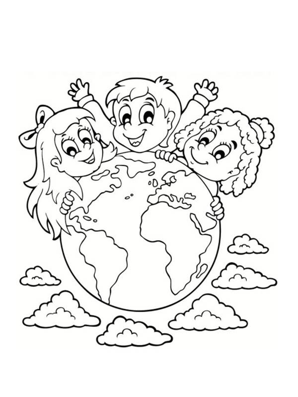 Free coloring and drawings Our Planet Earth and Children Coloring page