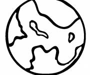Coloring pages Planet and its Continents to color