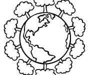 Coloring pages Planet and Trees