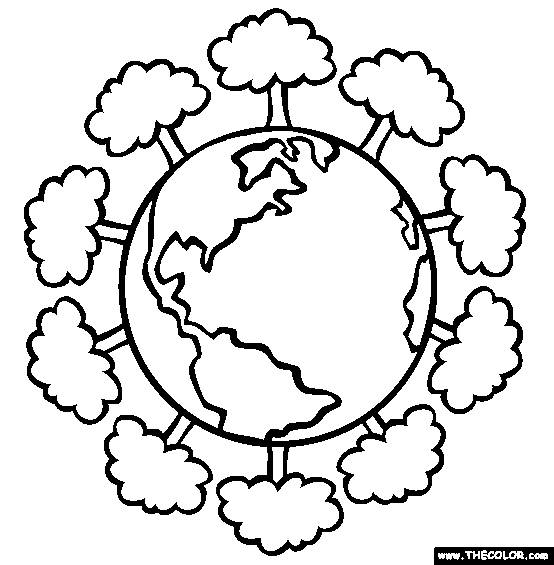 Free coloring and drawings Planet and Trees Coloring page