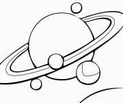 Coloring pages Planet Saturn and its Moons