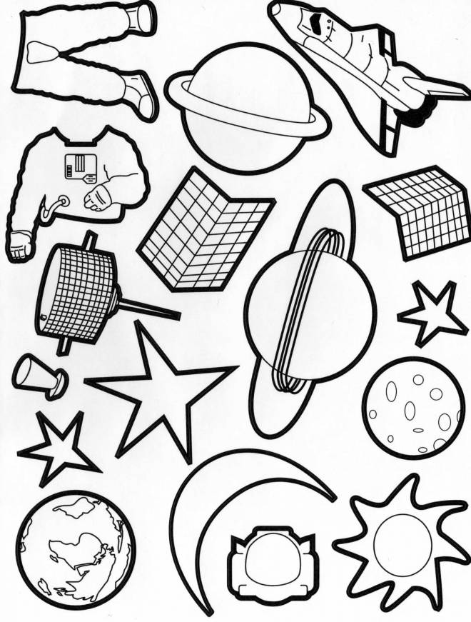 Free coloring and drawings Planets and astronauts Coloring page
