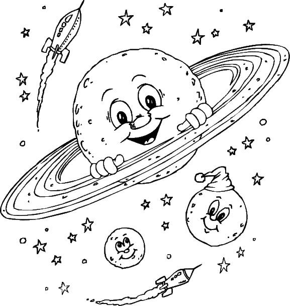 Free coloring and drawings Planets and Rifle Coloring page