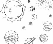 Free coloring and drawings Planets and Sun Coloring page