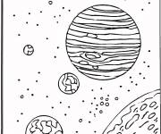 Coloring pages Planets in space