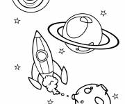 Coloring pages Rocket launches into the universe