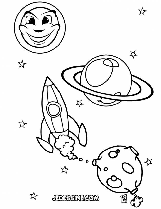 Free coloring and drawings Rocket launches into the universe Coloring page