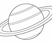 Coloring pages Saturn planet in black