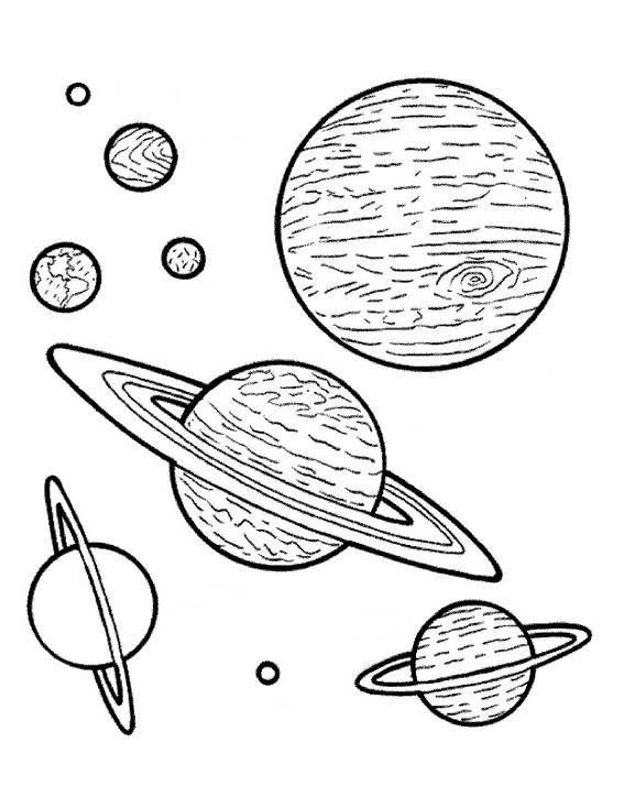 Free coloring and drawings Stylized planets Coloring page