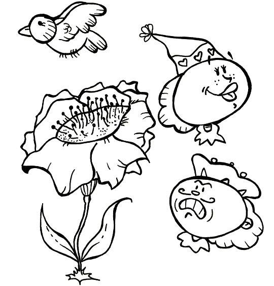 Free coloring and drawings Cartoon poppy Coloring page