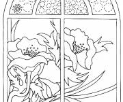 Coloring pages Poppy view from the window