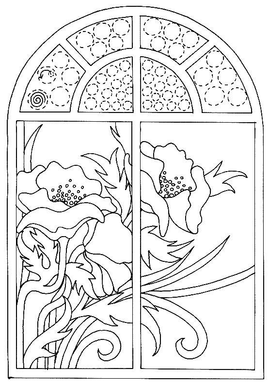 Free coloring and drawings Poppy view from the window Coloring page