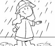 Free coloring and drawings A cute girl in the rain Coloring page