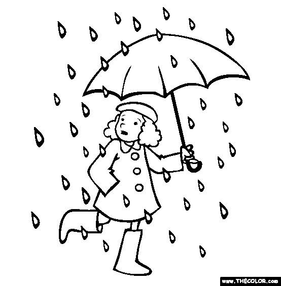 Free coloring and drawings A girl in the rain Coloring page