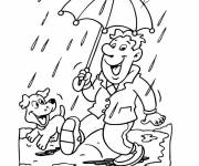 Free coloring and drawings A man in the rain Coloring page