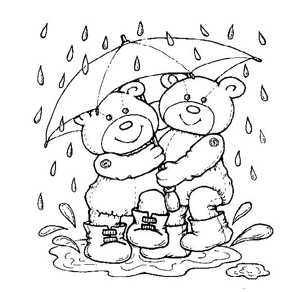 Free coloring and drawings Bear and Rain Coloring page