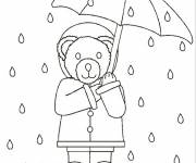 Coloring pages Bear in the Rain