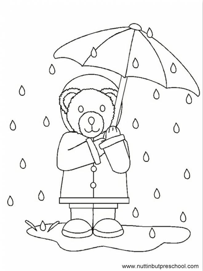 Free coloring and drawings Bear in the Rain Coloring page