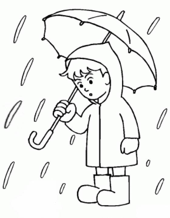 Free coloring and drawings Child and Rain in Color Coloring page
