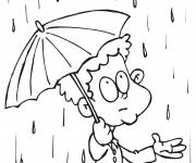 Coloring pages Child and rainy day