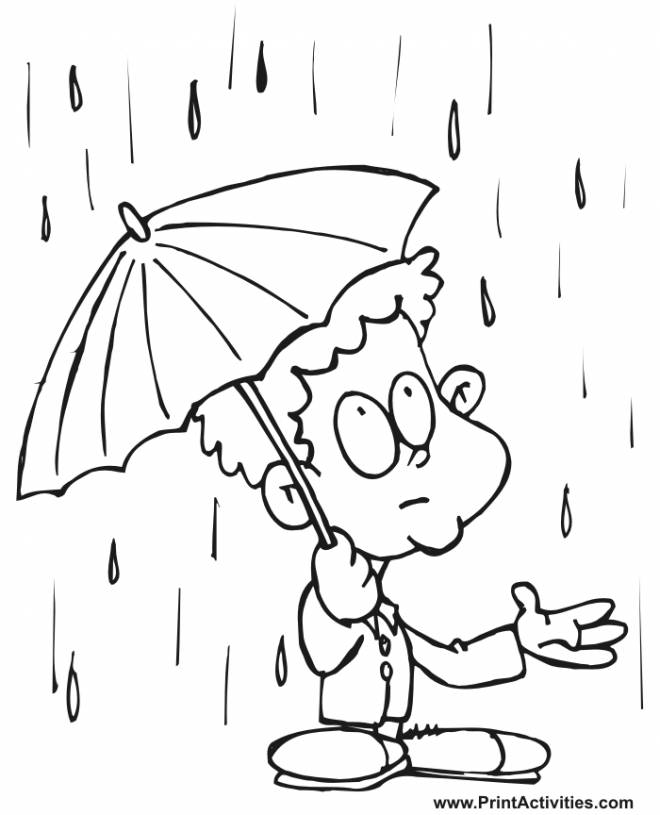 Free coloring and drawings Child and rainy day Coloring page