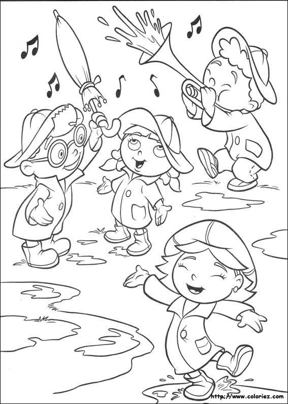 Free coloring and drawings Children and Rain Coloring page