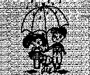 Coloring pages Children and their dog in the rain