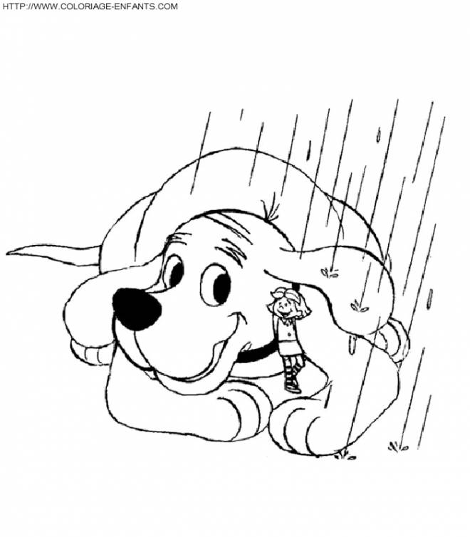 Free coloring and drawings Dog and little girl and rain Coloring page