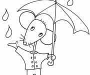 Coloring pages Easy Mouse and Rain