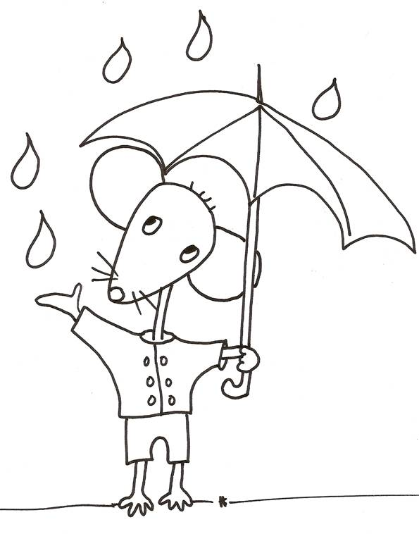 Free coloring and drawings Easy Mouse and Rain Coloring page