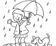 Coloring pages Girl and her dog having fun