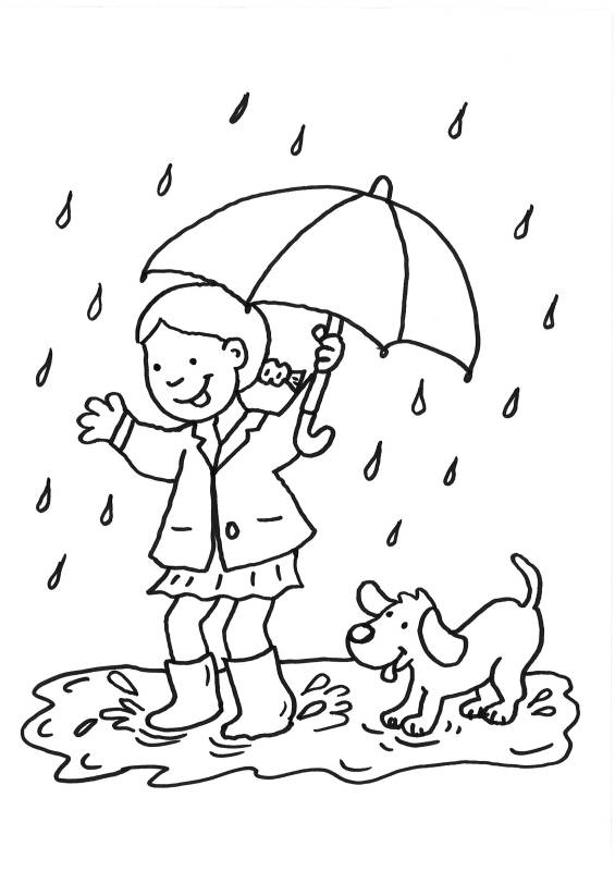 Free coloring and drawings Girl and her dog having fun Coloring page