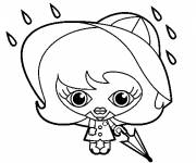 Coloring pages Girl and Rain in black and white