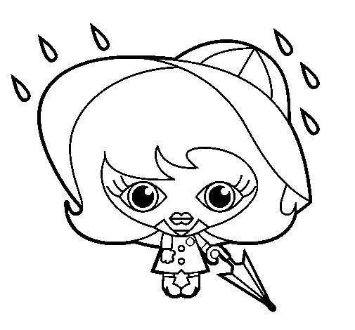 Free coloring and drawings Girl and Rain in black and white Coloring page